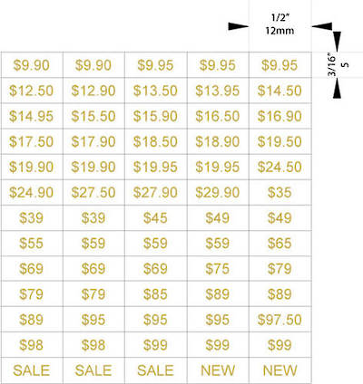 ZETAGS PRE-PRINTED LOW PRICE LABELS GOLD (1300 PCS)