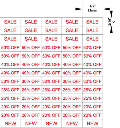 ZETAGS PRE-PRINTED SALE/PROMOTION PRICE LABELS RED (1300 PCS)