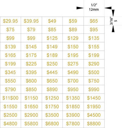 ZETAGS PRE-PRINTED STANDARD PRICE LABELS GOLD (1300 PCS)