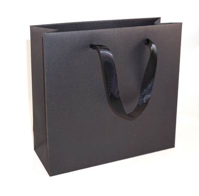 DELUXE MEDIUM BLACK CARRY BAG WITH BLACK RIBBON HANDLES