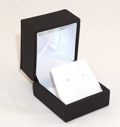 IMRFL - EARRING BOX IMITATION LEATHER BLACK WHITE VELVET FLAP