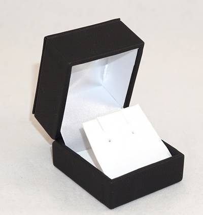 IMRFL - EARRING BOX IMITATION LEATHER BLACK WHITE VINYL FLAP