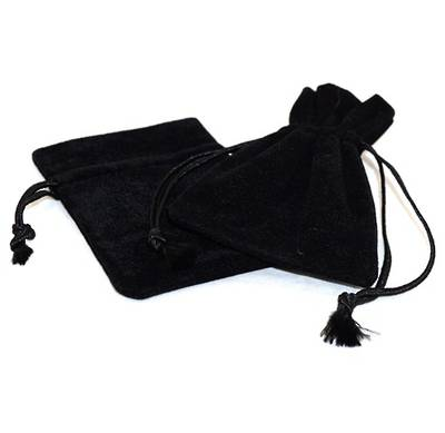 DELUXE BLACK SUEDE PARTITION POUCH MEDIUM