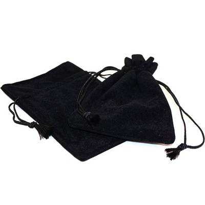 DELUXE BLACK SUEDE PARTITION POUCH LARGE