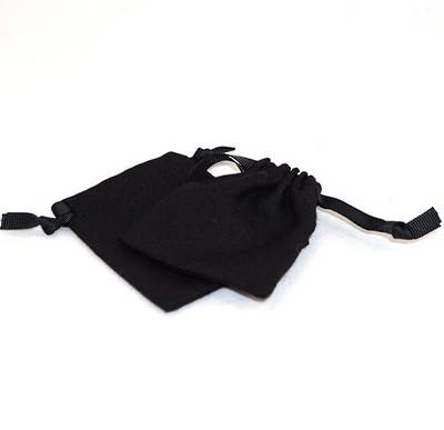 SMALL CALICO POUCH BLACK/BLACK RIBBON 70 X 80 MM