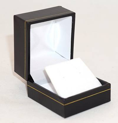 SDRFL - EARRING BOX LEATHERETTE BLACK WHITE VELVET FLAP
