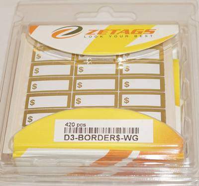 "ZETAGS PRE-PRINTED ""$"" BORDER PRICE LABELS GOLD (420 PCS)"