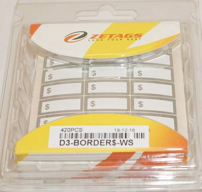 "ZETAGS PRE-PRINTED ""$"" BORDER PRICE LABELS SILVER (420 PCS)"