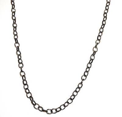 HAYLEY CHAIN OVAL BELCHER BLACK PLATED 7.5X6.0MM (1 MTR)