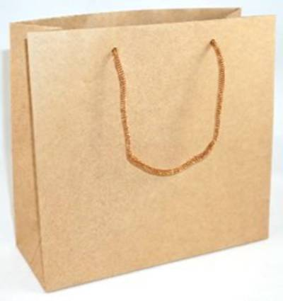 MEDIUM BROWN CARRY BAG WITH BROWN STRING HANDLES BULK DEAL (30 PCS)