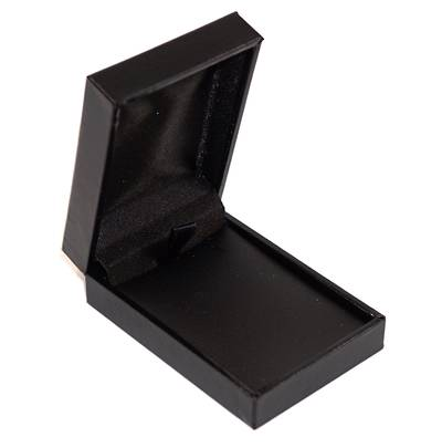 SDSP - SMALL PENDANT/EARRING BOX LEATHERETTE BLACK NO LINE BLACK VINYL PAD
