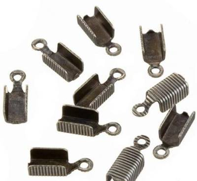 LEATHER ENDS GUNMETAL 12x4MM (20 PACK)