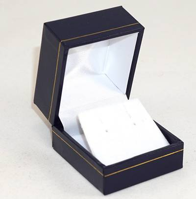 SDRFL - EARRING BOX LEATHERETTE NAVY WHITE VELVET FLAP