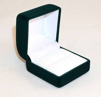 SSR1 - RING BOX GREEN FLOCK WHITE VELVET PAD BULK DEAL (48 PCS)