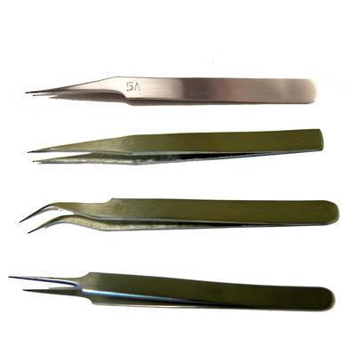 TWEEZERS SET - 4 X S/STEEL 130MM NON-MAGNETIC