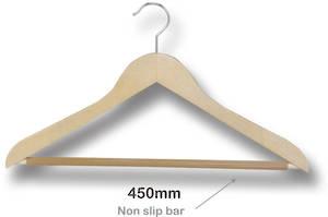 Multi Purpose Wooden Hanger with Nonslip Bar - 7130