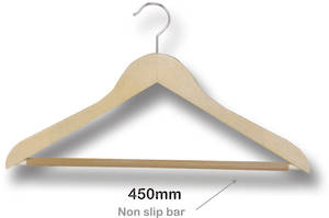 Multi Purpose Wooden Hanger with Nonslip Bar - 7130