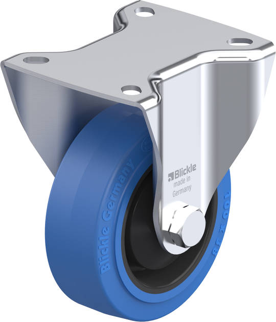 Fixed 100mm Elastic Rubber Castor - LKB100/F