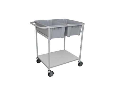 Plastic Bin Trolley - Double Bin & Shelf - BM2D