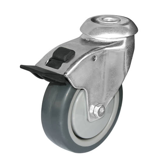 Swivel  total brake 100mm Rubber Castor - 100KG- HCR100/H-TB
