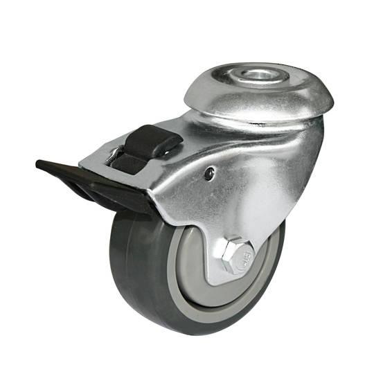 Swivel  total brake 75mm Rubber Castor - 80KG HCR75/H-TB