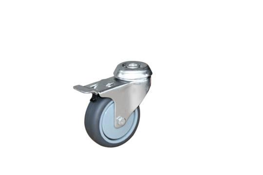 Swivel  total brake 75mm Rubber Castor - KLR75/H-TB