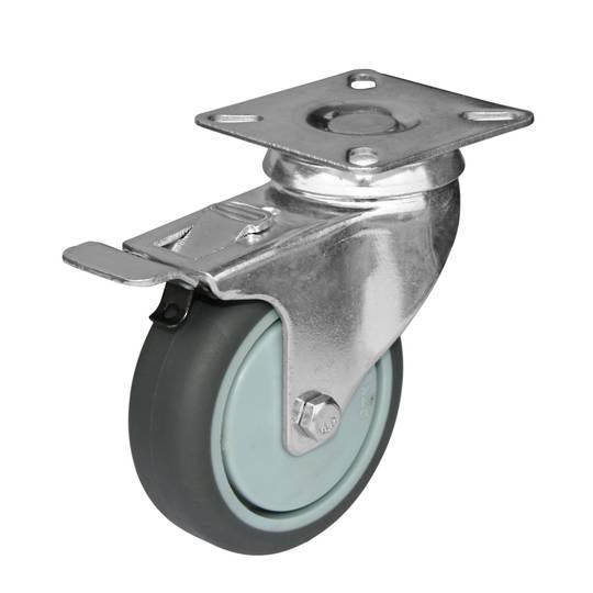 Swivel & total brake  75mm  grey rubber castor  KLR75/P-TB