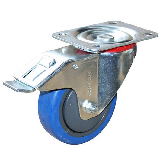 Swivel & Total Brake 100mm Elastic Rubber Castor - MCB100/P-TB