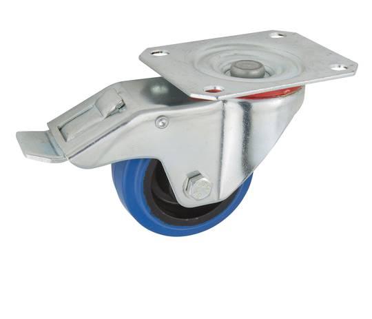 Swivel & Total Brake 80mm Elastic Rubber Castor - MCB80/P-TB