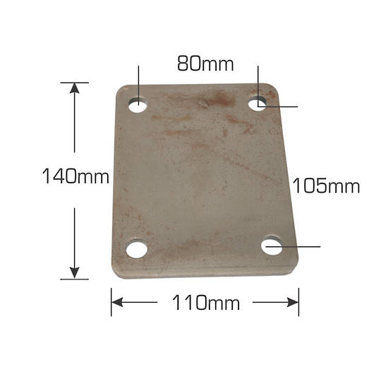 Weld-On Mounting Plate - 140 x 110  mm - MH Plate