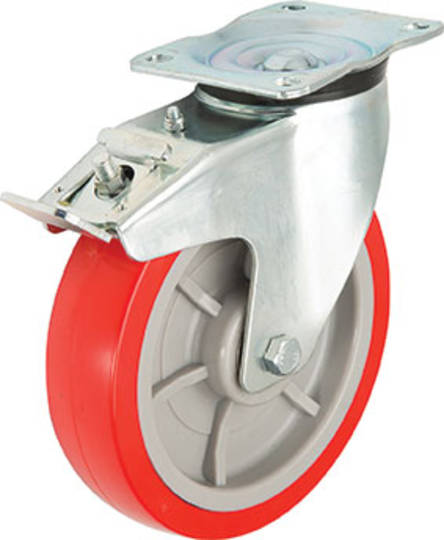 Swivel & Total Brake 150mm Urethane Castor - MHU150/P-TB