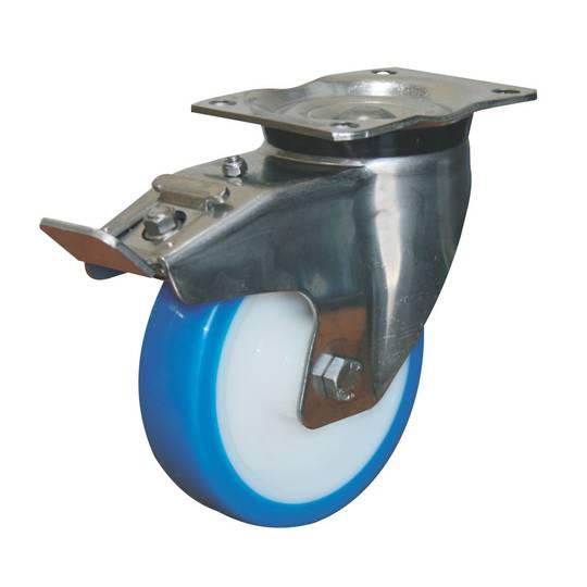 Swivel & Total Brake 150mm Urethane Castor - Stainless Steel - MSU150/SP-TB