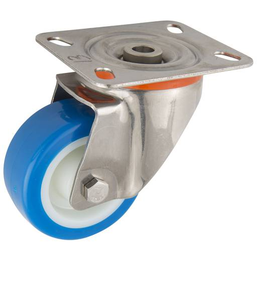 Swivel 80mm Urethane Castor - Stainless Steel - MSU80/SP