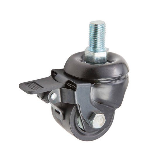 Swivel & Brake 50mm Nylon Castor - Heavy Duty -Low Profile -250KG- MXN50/T16-B
