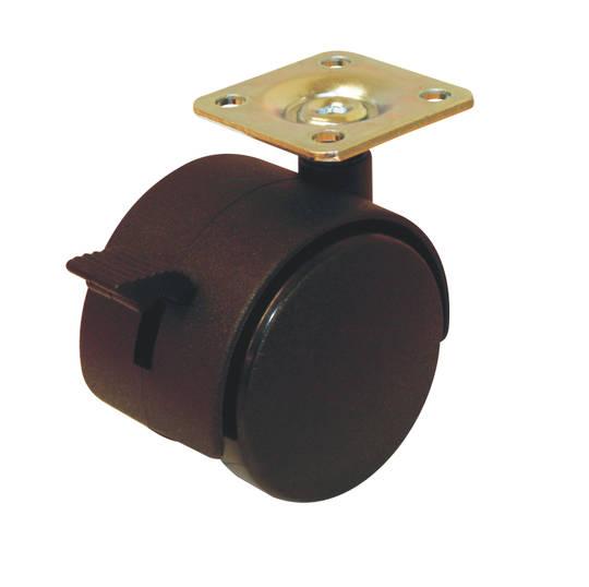 Twin Wheel Castor 40mm - Plate - Brake - TW40/P-B