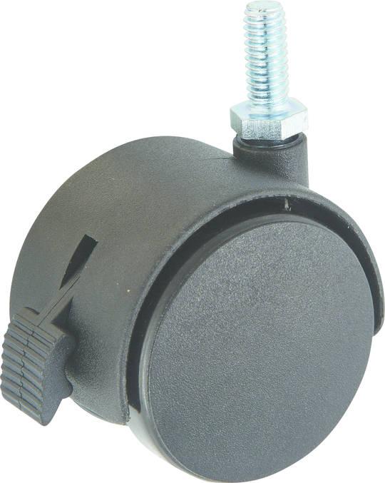 Twin Wheel Castor 50mm - 3/8 Thread - Brake - TW50-38-B