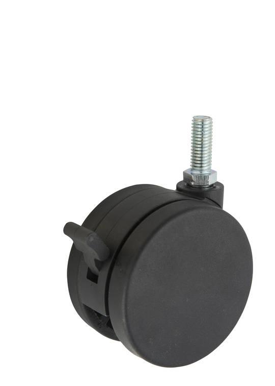 Twin Wheel Castor 75mm - M10 Thread - Brake - TW75-M10-B