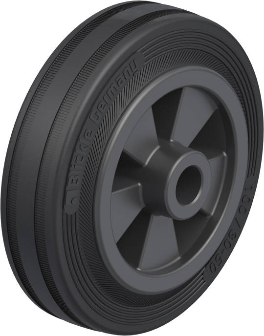 Black Rubber Wheel 100mm - SRK100