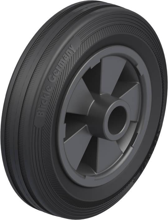 Black Rubber Wheel 150mm - SRK150