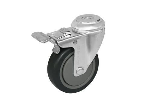 Swivel & Total Braked 75mm Rubber Castor - WCR75/H-TB