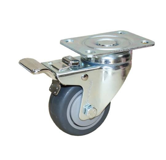 Swivel & Total Brake 75mm Rubber Castor - WCR75/P-TB