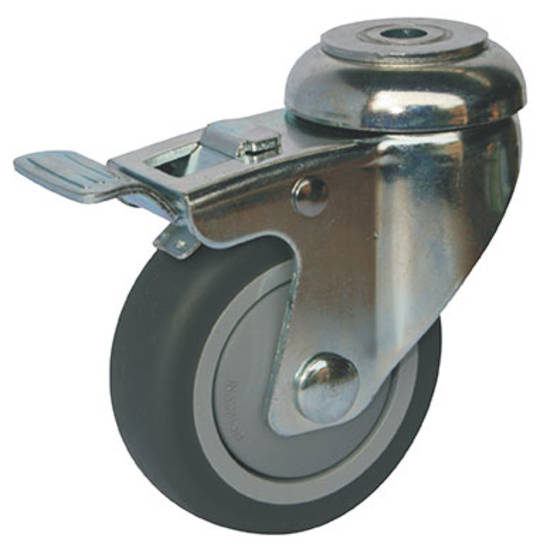 Swivel & Total Brake 75mm Rubber Castor - WLR75/H-TB