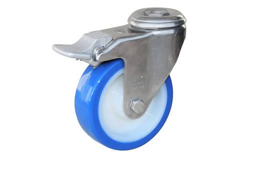 Swivel & Total Brake 100mm Urethane Castor - Stainless Steel - WSU100/SH-TB