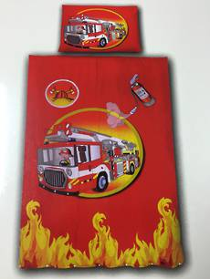 Fire Truck Single Duvet Cover Set