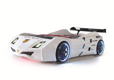 Cat Car Bed White With LED On Wheels