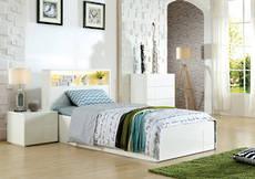 Adela King Single Bed Gloss White