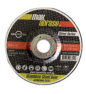 Max Abrase 100mm x 6.0 x 16 Stainless Steel Inox Grinding Wheel