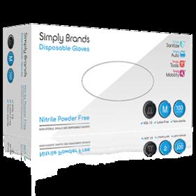 Simply Brands Black PF Nitrile Gloves (Box 100)