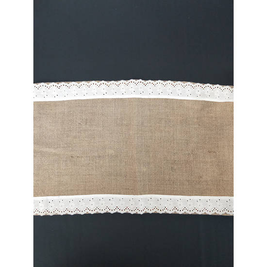 Table Runner - Hessian with Lace