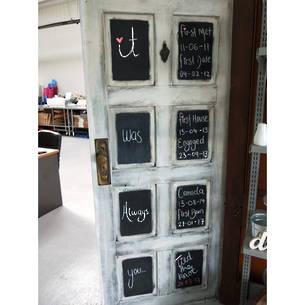 Old Door with Blackboard Squares